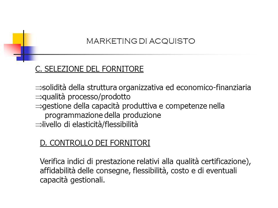 MARKETING DI ACQUISTO C. SELEZIONE DEL FORNITORE. solidità della struttura organizzativa ed economico-finanziaria.