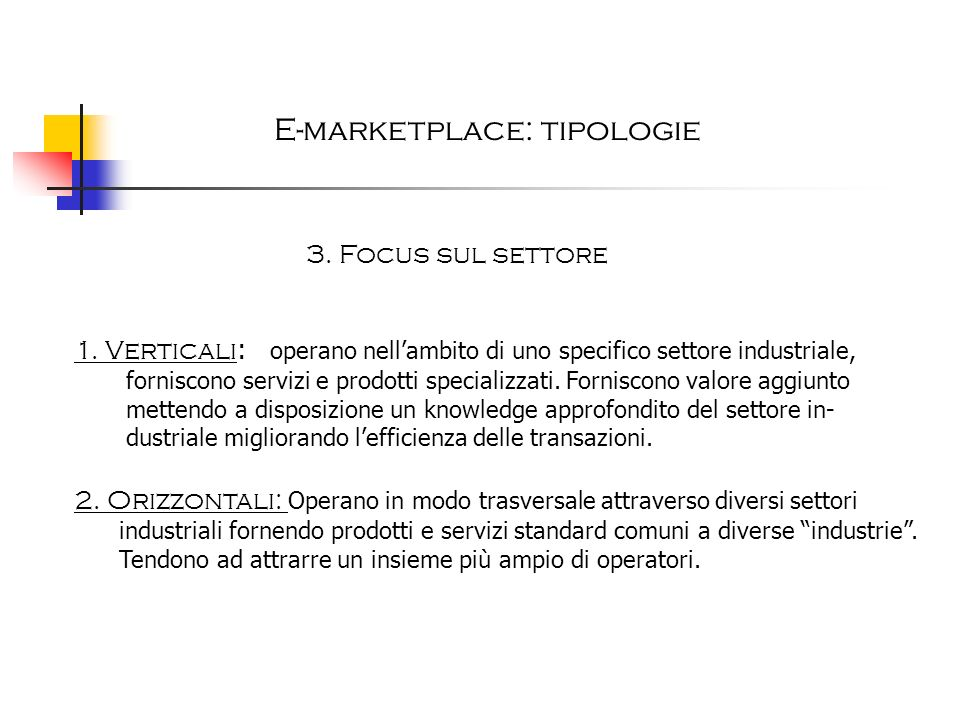 E-marketplace: tipologie