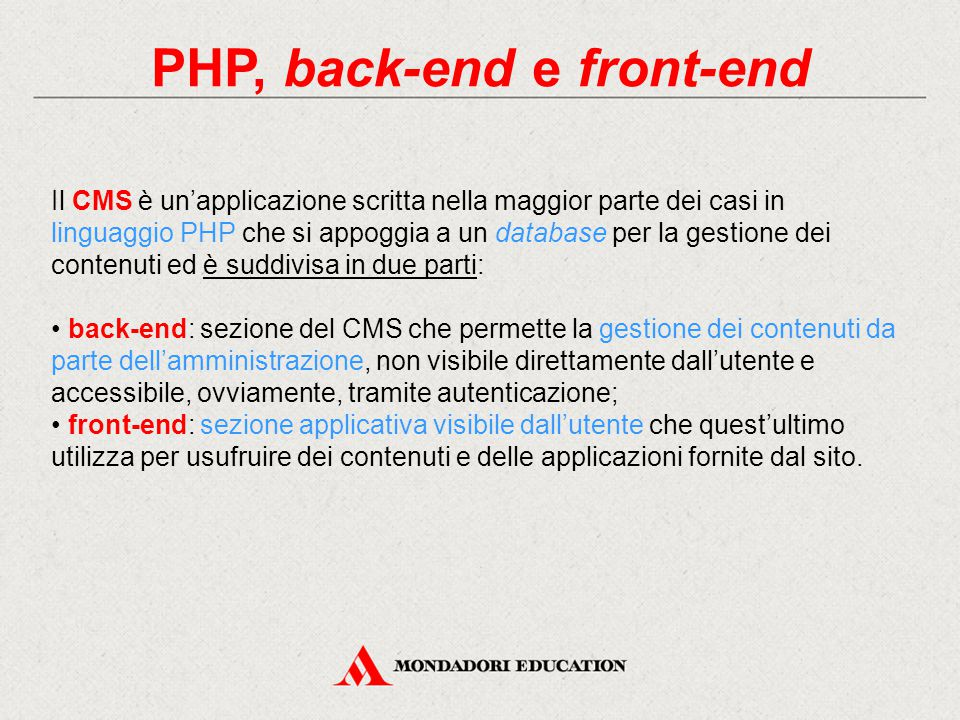 PHP, back-end e front-end