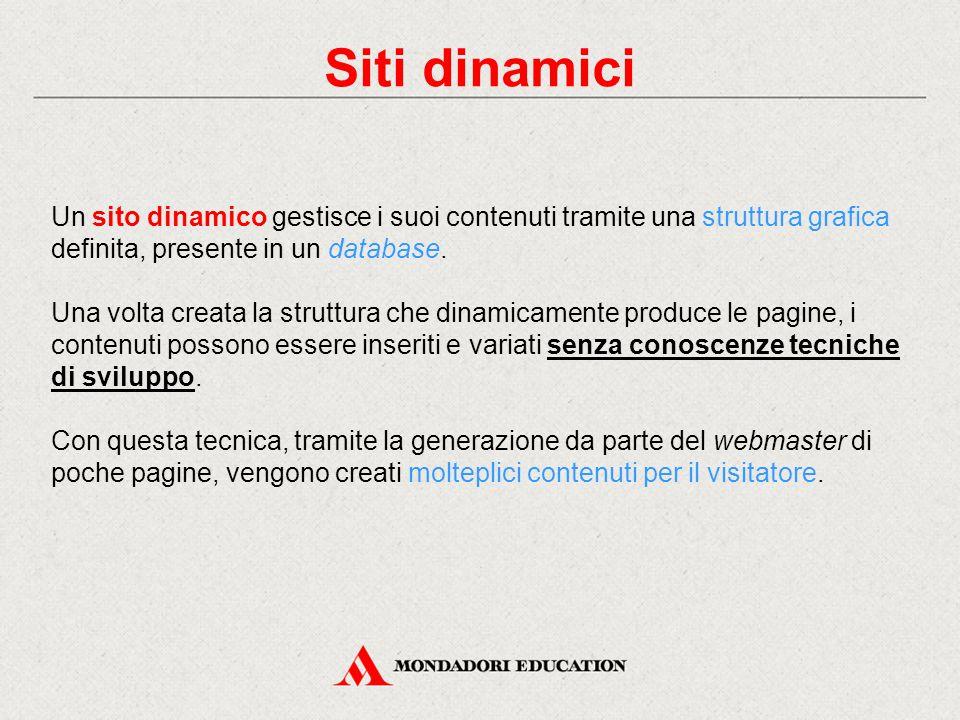 Siti dinamici Un sito dinamico gestisce i suoi contenuti tramite una struttura grafica definita, presente in un database.