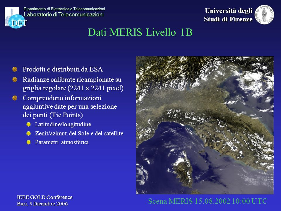 Dati MERIS Livello 1B Traccia subsatellite Tie Point