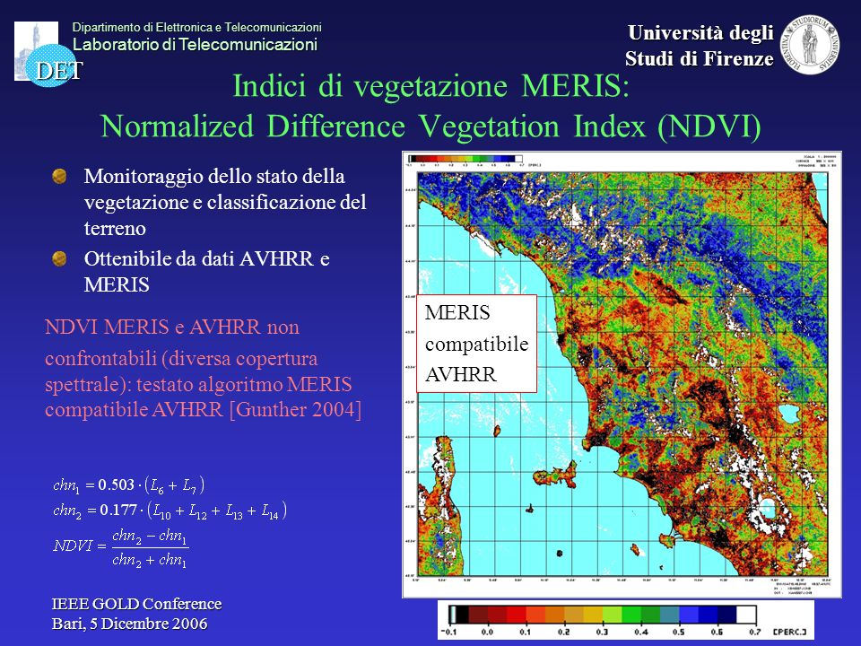 Indici di vegetazione MERIS: Normalized Difference Vegetation Index (NDVI)