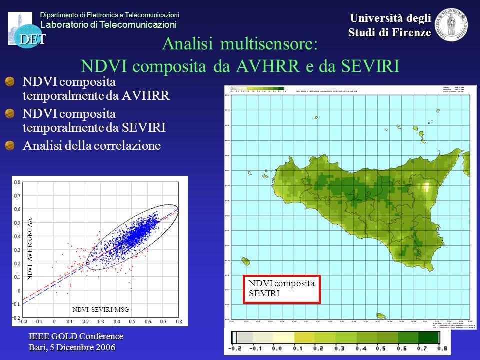 Analisi multisensore: NDVI composita da AVHRR e da SEVIRI