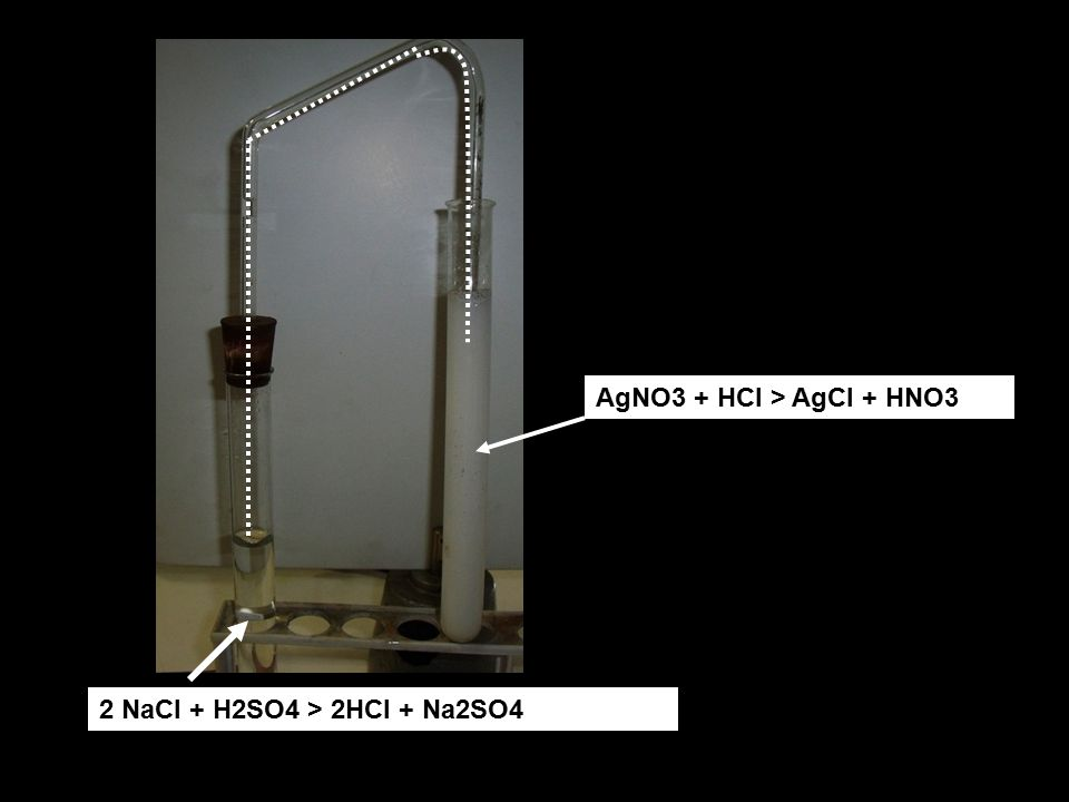 AgNO3 + HCl > AgCl + HNO3