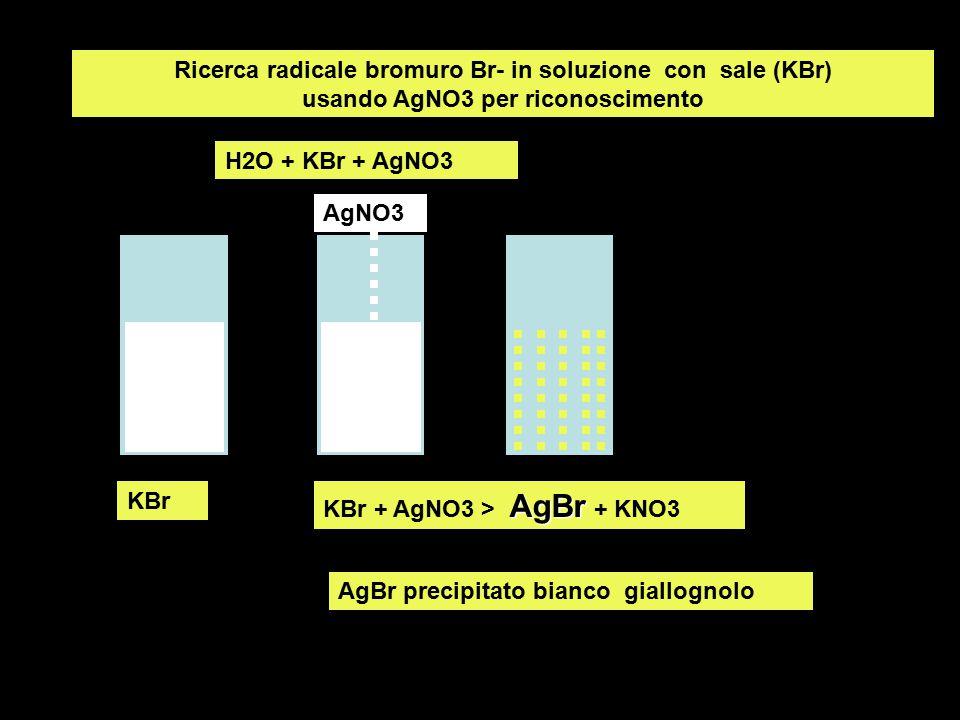 Ricerca radicale bromuro Br- in soluzione con sale (KBr) usando AgNO3 per riconoscimento