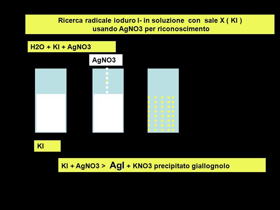 Ricerca radicale ioduro I- in soluzione con sale X ( KI ) usando AgNO3 per riconoscimento