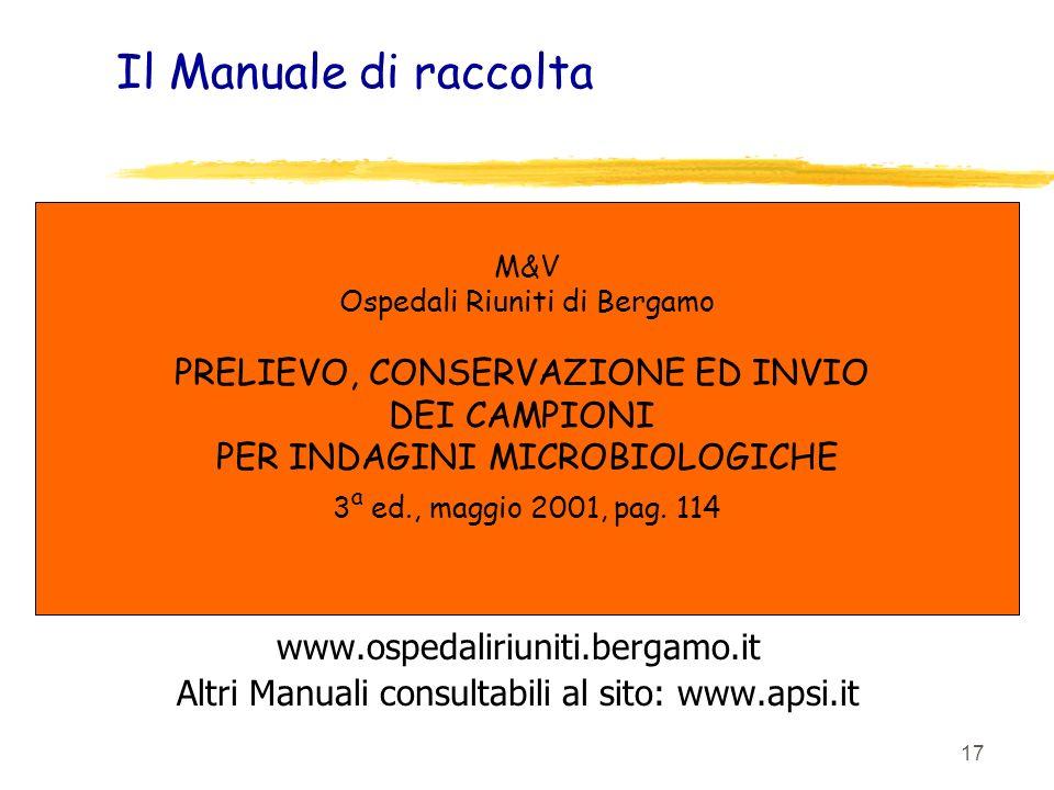 Il Manuale di raccolta PRELIEVO, CONSERVAZIONE ED INVIO DEI CAMPIONI