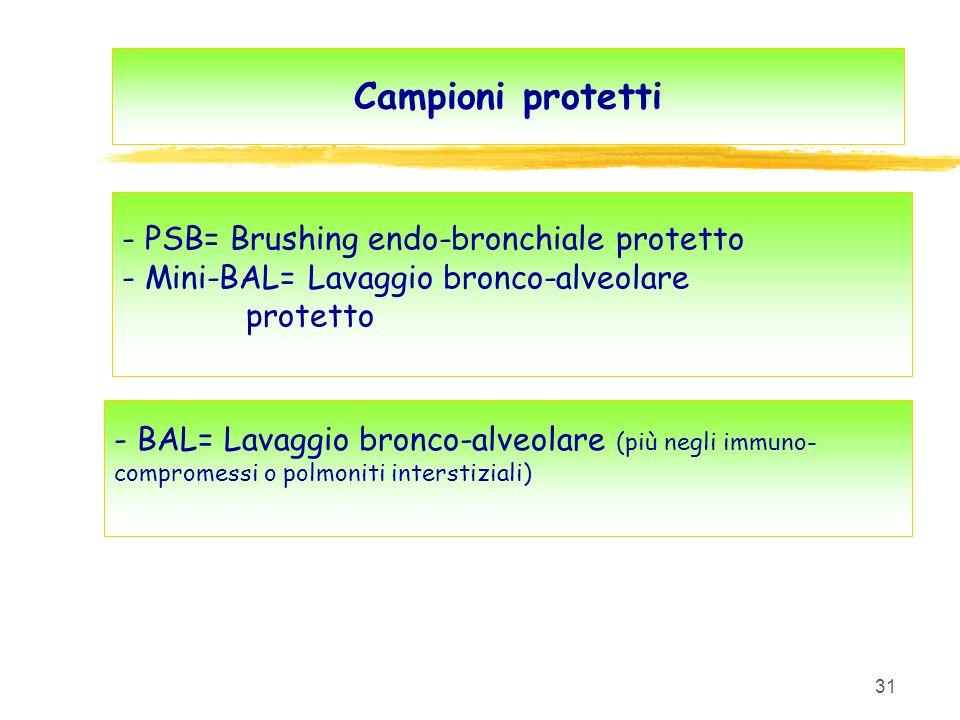 Campioni protetti - PSB= Brushing endo-bronchiale protetto - Mini-BAL= Lavaggio bronco-alveolare protetto.