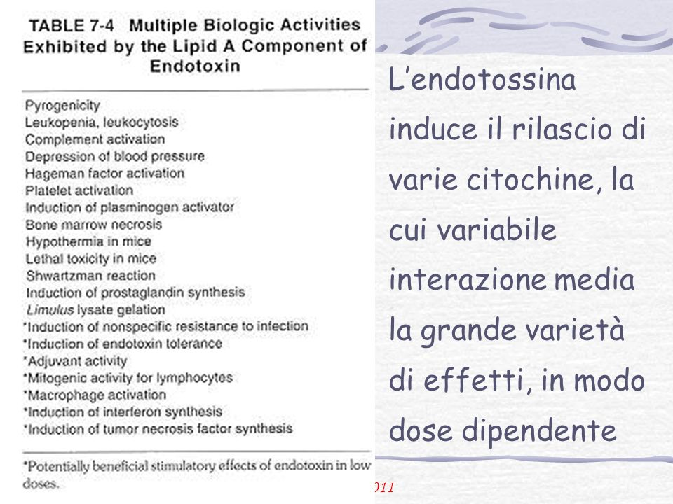 L'endotossina induce il rilascio di varie citochine, la cui variabile interazione media la grande varietà di effetti, in modo dose dipendente
