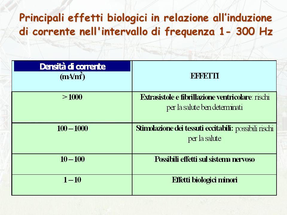 Principali effetti biologici in relazione all'induzione di corrente nell intervallo di frequenza 1- 300 Hz