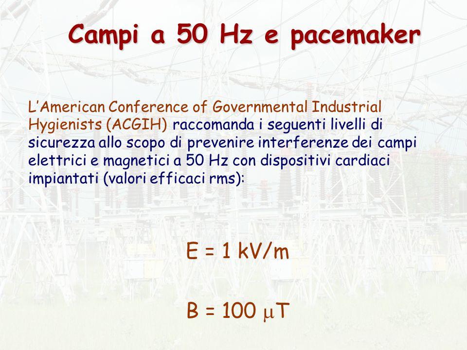 E = 1 kV/m B = 100 T Campi a 50 Hz e pacemaker