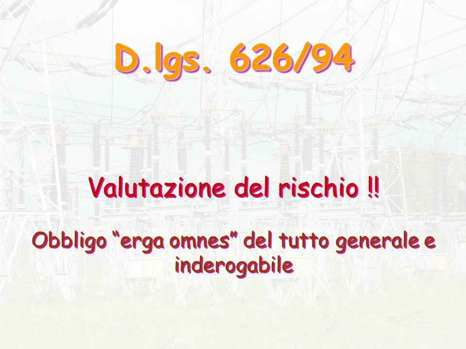 D. lgs. 626/94 Valutazione del rischio