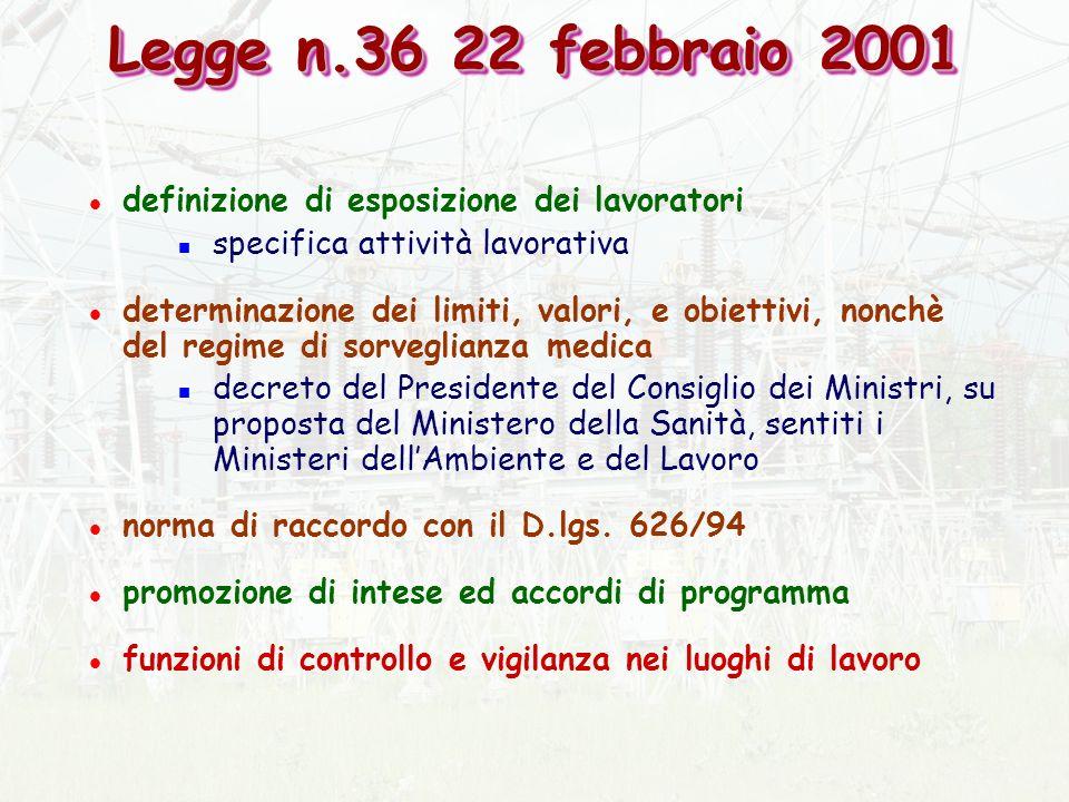 Legge n.36 22 febbraio 2001 definizione di esposizione dei lavoratori
