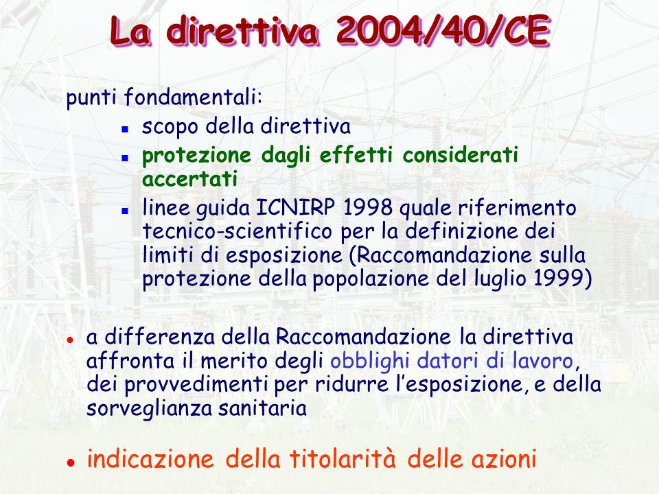 La direttiva 2004/40/CE indicazione della titolarità delle azioni