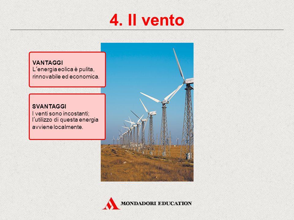 4. Il vento VANTAGGI. L'energia eolica è pulita, rinnovabile ed economica. SVANTAGGI.