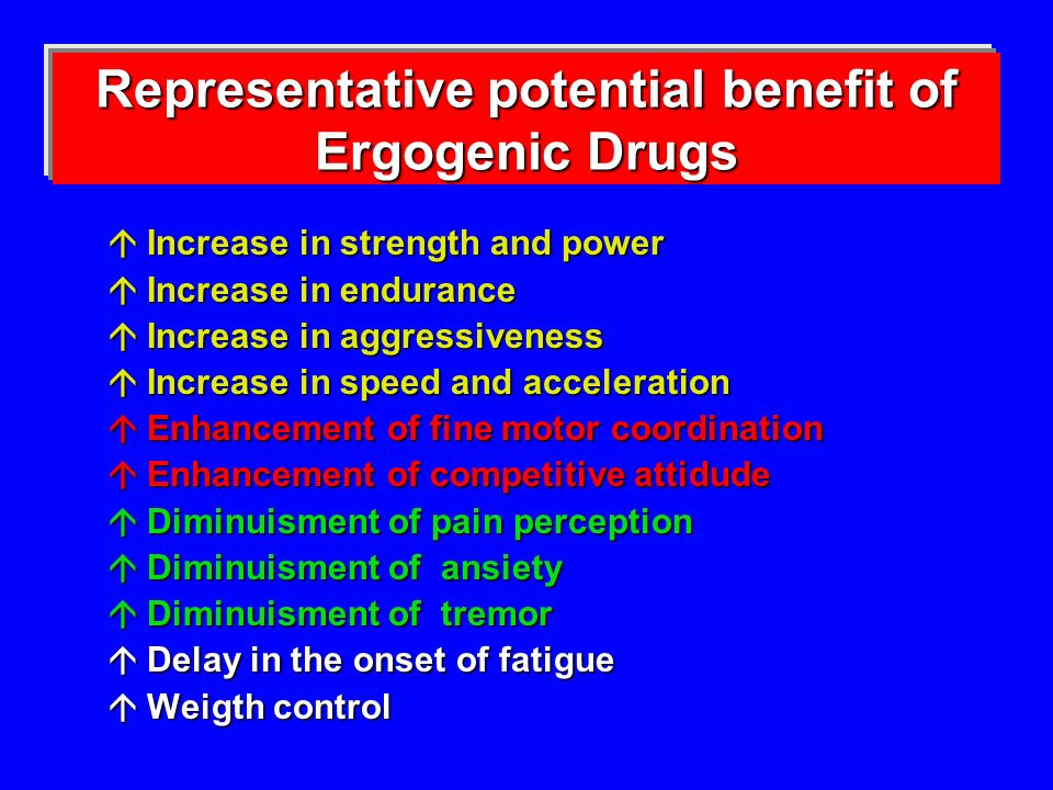 Representative potential benefit of Ergogenic Drugs
