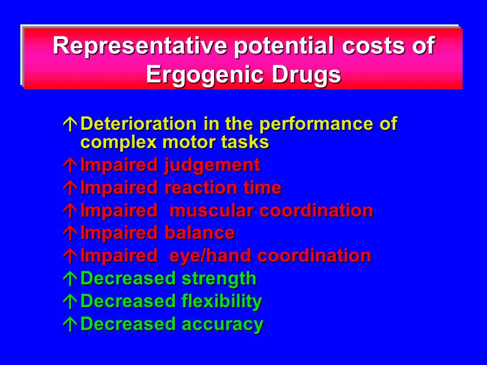 Representative potential costs of Ergogenic Drugs