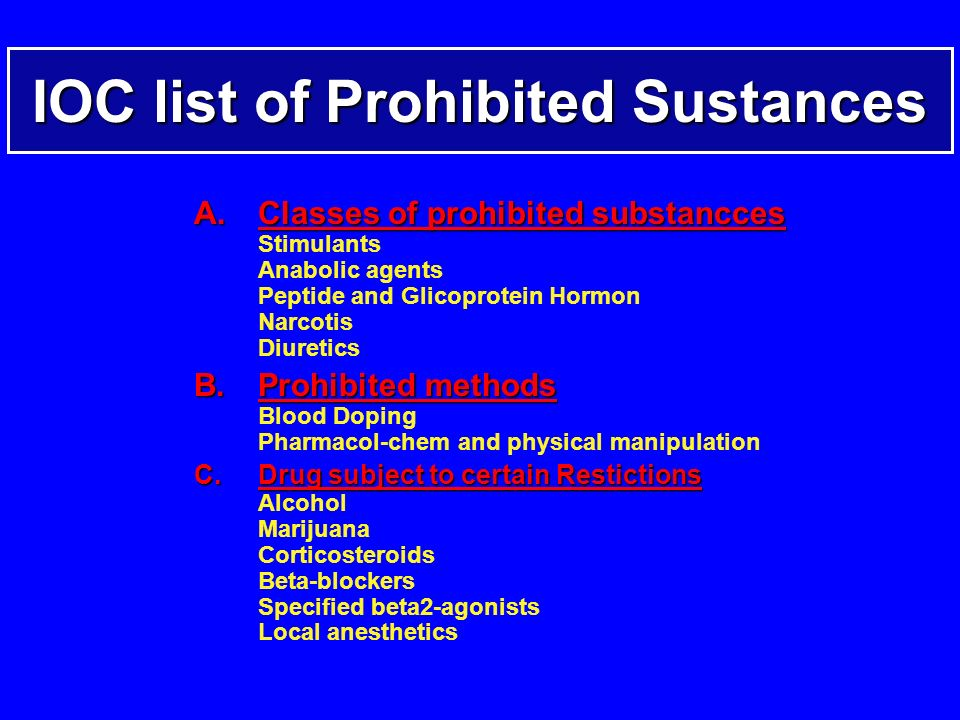 IOC list of Prohibited Sustances