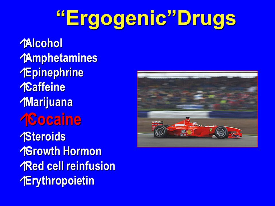 Ergogenic Drugs Cocaine Alcohol Amphetamines Epinephrine Caffeine