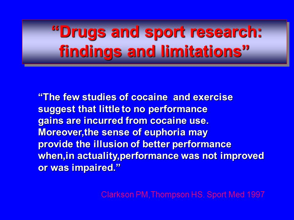 Drugs and sport research: findings and limitations