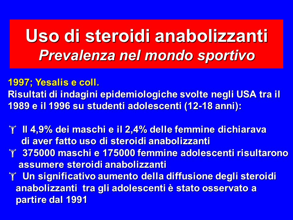 Uso di steroidi anabolizzanti Prevalenza nel mondo sportivo