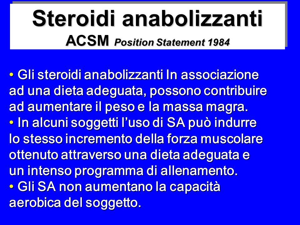 Steroidi anabolizzanti ACSM Position Statement 1984