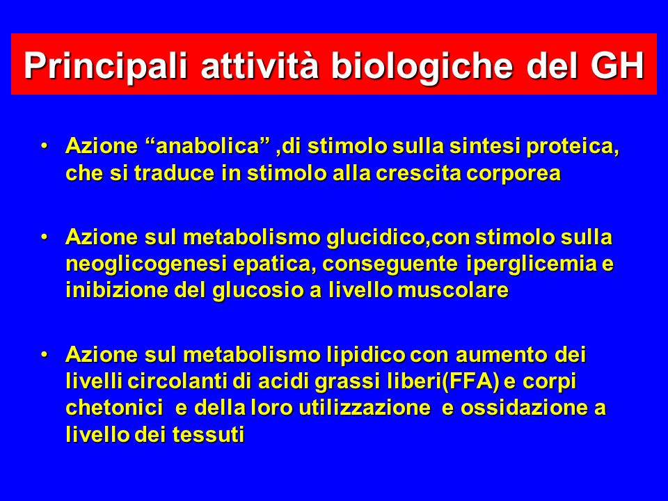 Principali attività biologiche del GH