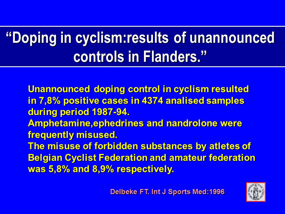 Doping in cyclism:results of unannounced controls in Flanders.