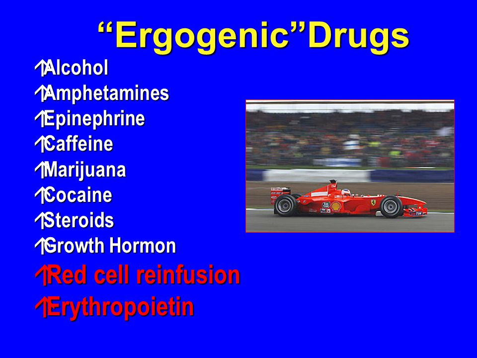 Ergogenic Drugs Red cell reinfusion Erythropoietin Alcohol