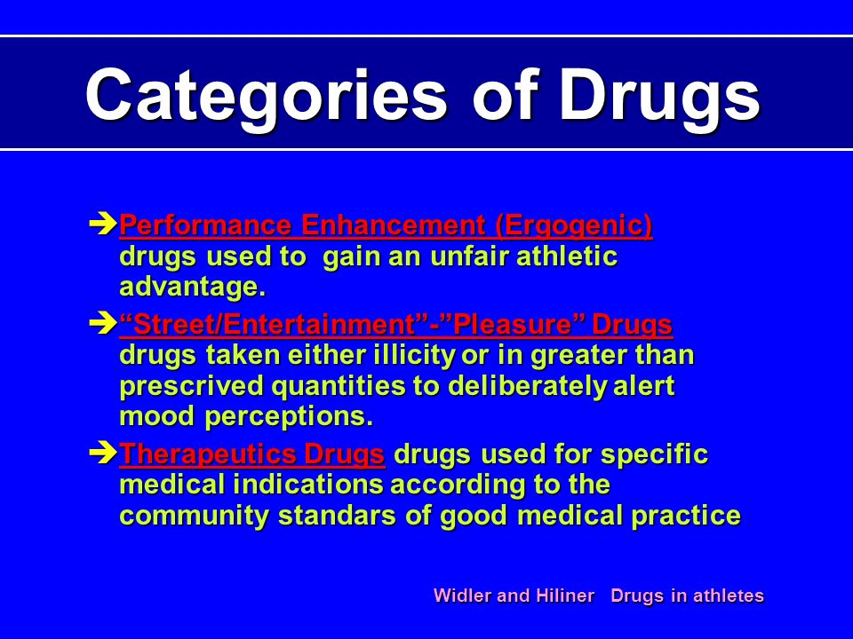 Categories of Drugs Performance Enhancement (Ergogenic) drugs used to gain an unfair athletic advantage.