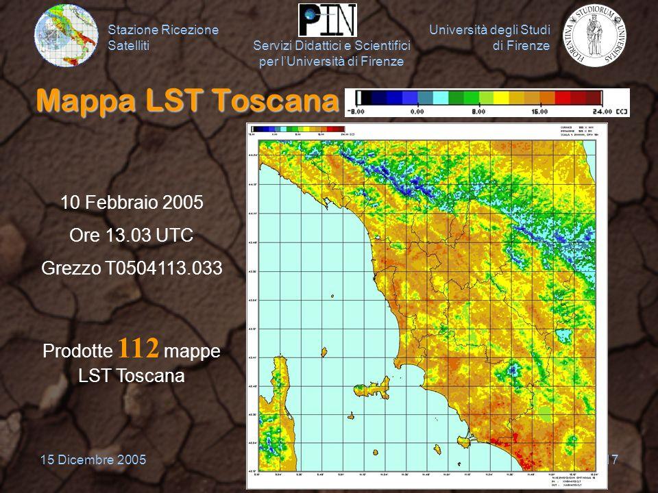 Prodotte 112 mappe LST Toscana