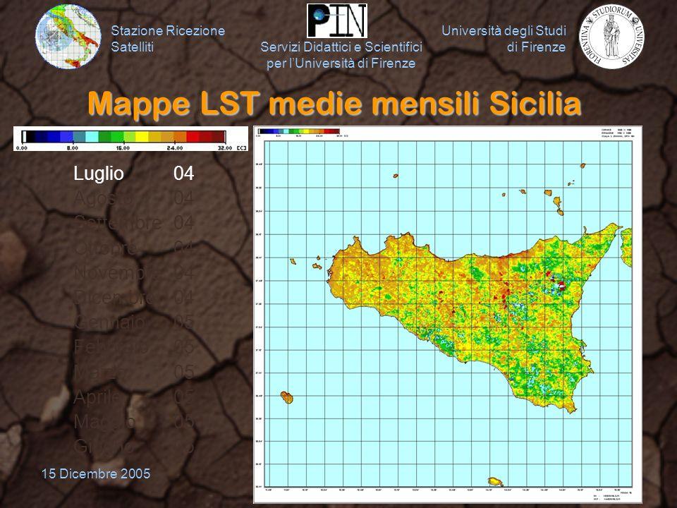 Mappe LST medie mensili Sicilia