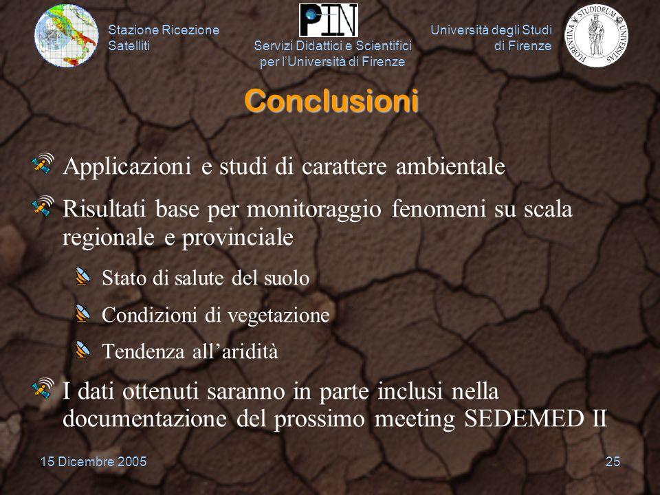 Conclusioni Applicazioni e studi di carattere ambientale