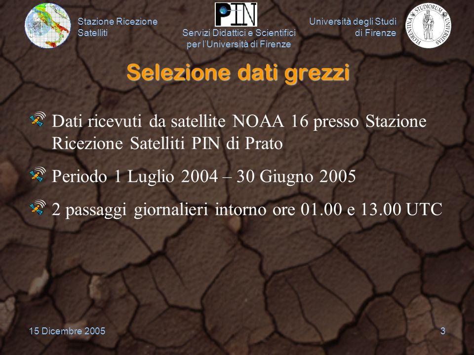 Selezione dati grezzi Dati ricevuti da satellite NOAA 16 presso Stazione Ricezione Satelliti PIN di Prato.