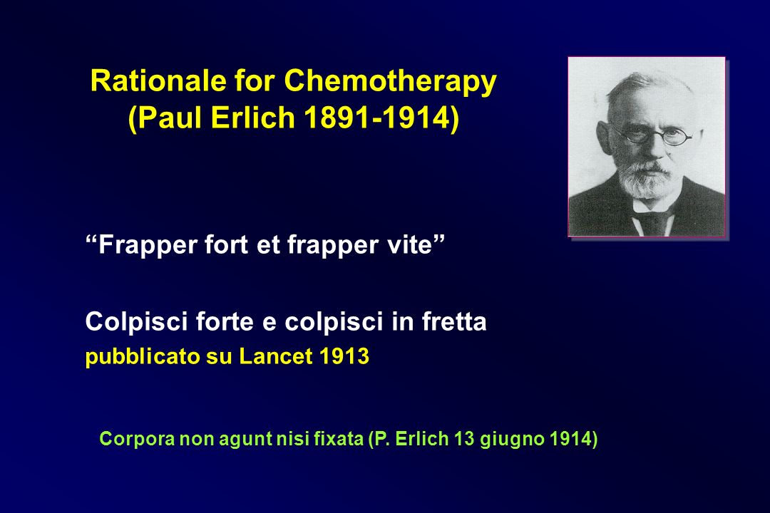 Rationale for Chemotherapy (Paul Erlich 1891-1914)