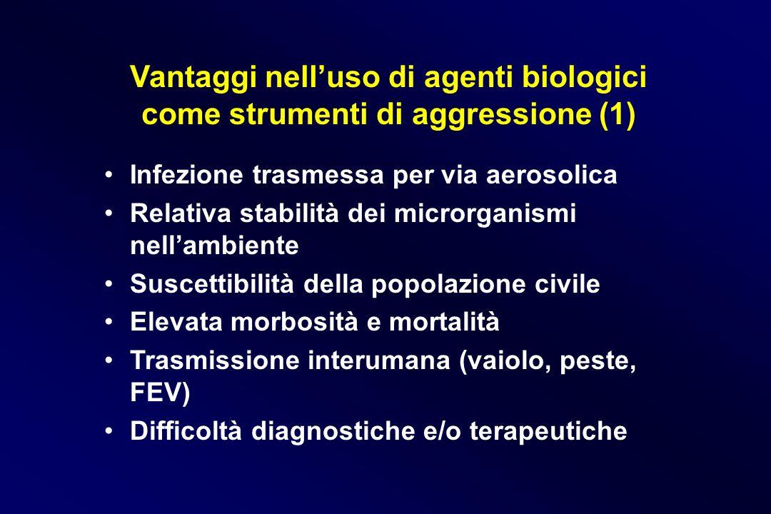 Vantaggi nell'uso di agenti biologici come strumenti di aggressione (1)