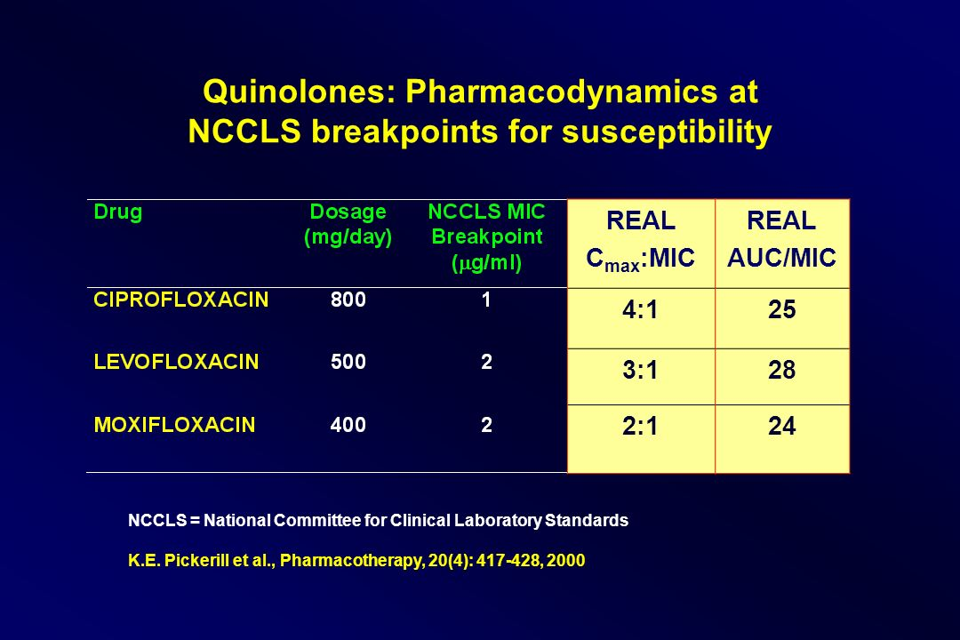 Quinolones: Pharmacodynamics at NCCLS breakpoints for susceptibility