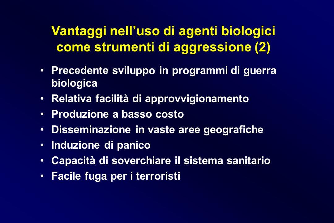 Vantaggi nell'uso di agenti biologici come strumenti di aggressione (2)