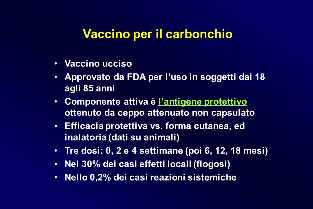 Vaccino per il carbonchio