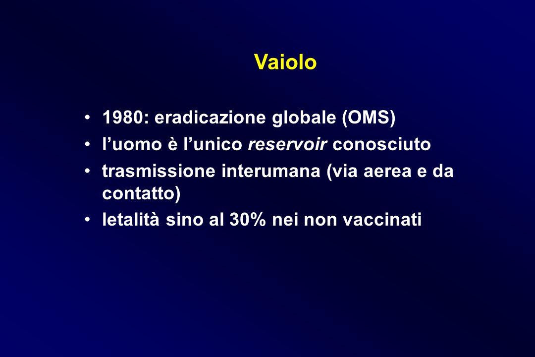 Vaiolo 1980: eradicazione globale (OMS)