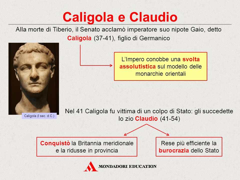 Caligola e Claudio Alla morte di Tiberio, il Senato acclamò imperatore suo nipote Gaio, detto Caligola (37-41), figlio di Germanico.