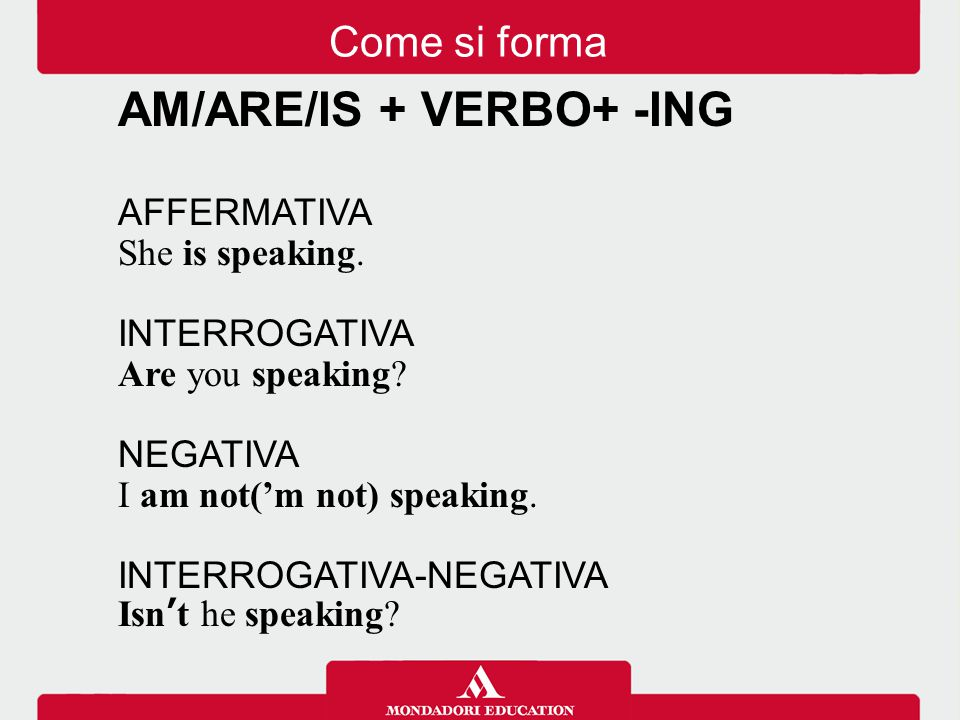 AM/ARE/IS + VERBO+ -ING