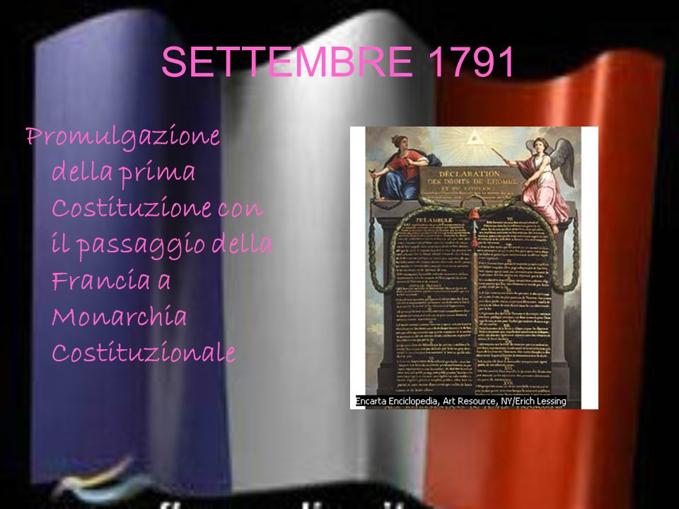 SETTEMBRE 1791 Promulgazione della prima Costituzione con il passaggio della Francia a Monarchia Costituzionale.