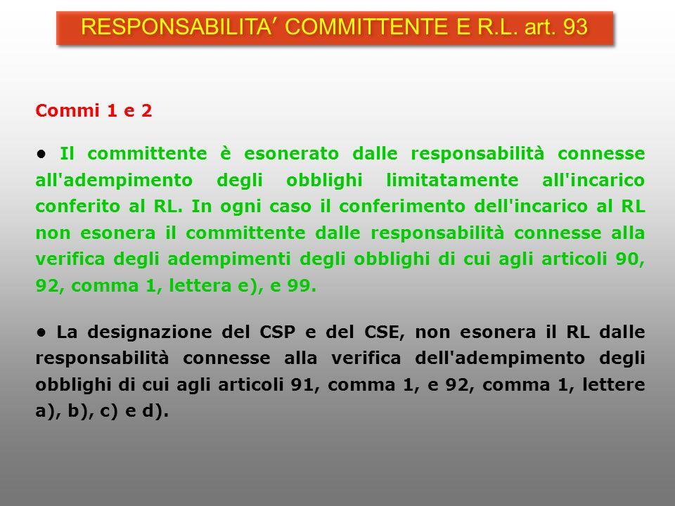 RESPONSABILITA' COMMITTENTE E R.L. art. 93