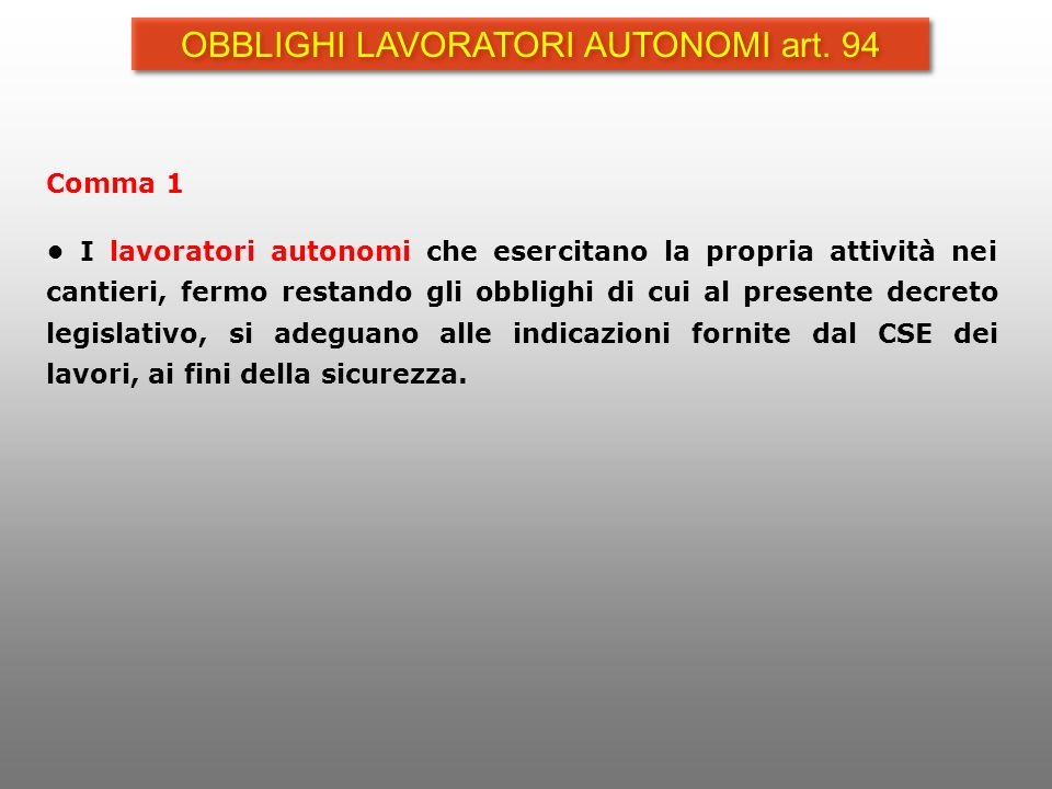 OBBLIGHI LAVORATORI AUTONOMI art. 94