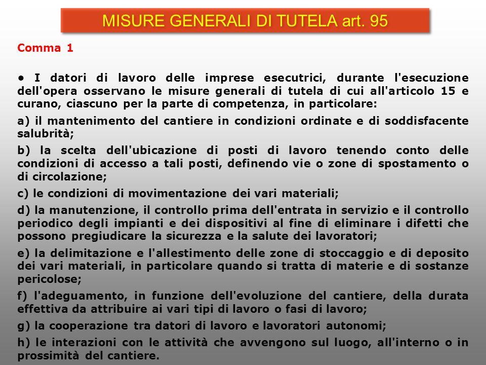MISURE GENERALI DI TUTELA art. 95