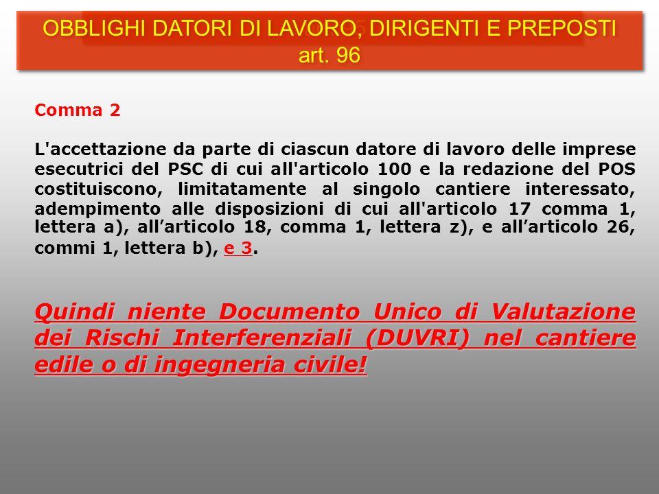 OBBLIGHI DATORI DI LAVORO, DIRIGENTI E PREPOSTI art. 96