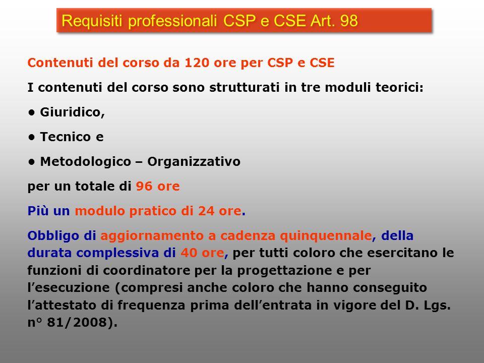 Requisiti professionali CSP e CSE Art. 98