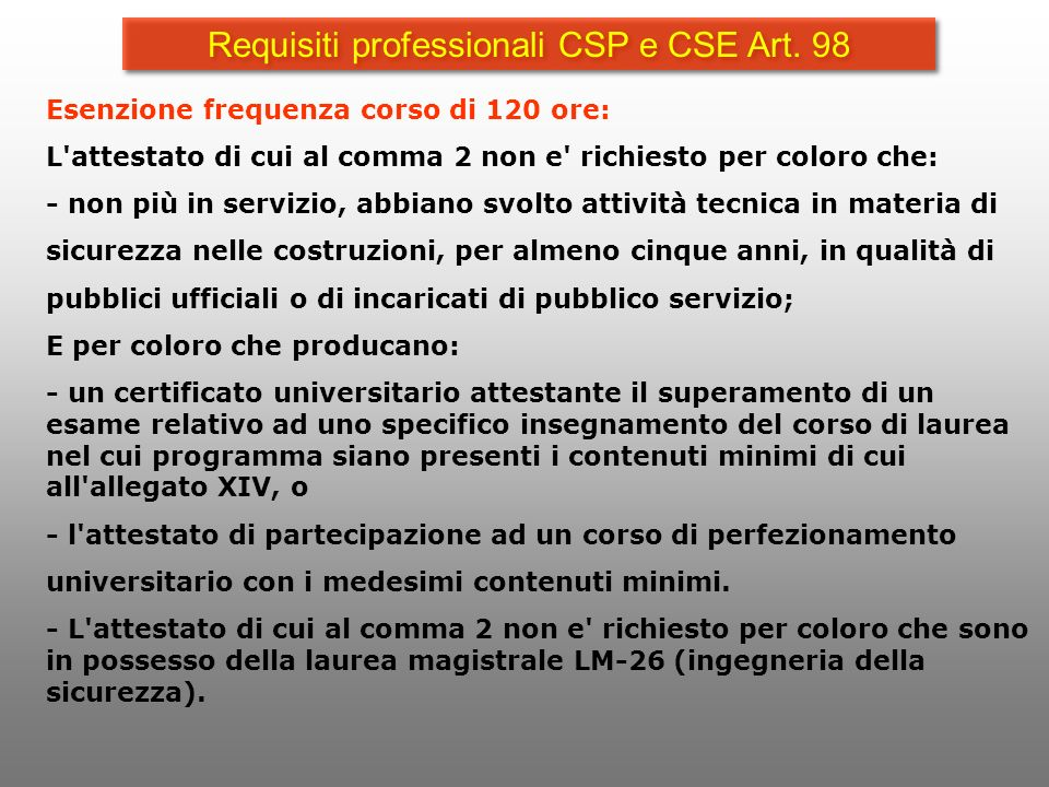 Requisiti professionali CSP e CSE Art. 98