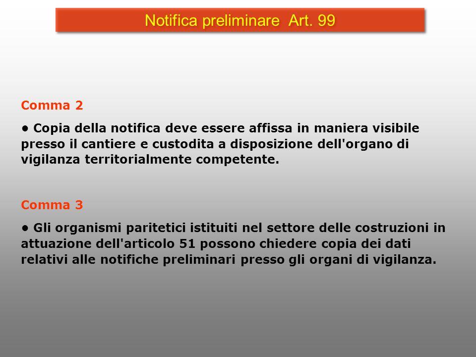 Notifica preliminare Art. 99